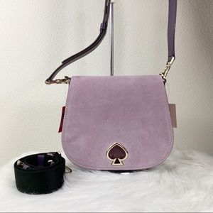 KATE SPADE SUZY SUEDE LARGE SADDLE BAG